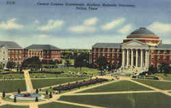 Central Campus quadrangel, Southern Methodist University Postcard