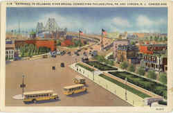 Entrance To Delaware River Bridge - Buses Postcard