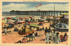 Beach Scene At Fishing Pier