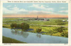 Scene on Climarron River and Panhandle Postcard