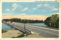 Arkansas river Bridge Postcard
