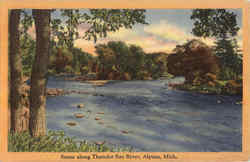 Scene Along Thunder Bay River Postcard
