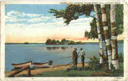 Grand Lake Showing Island Birch Hill Postcard