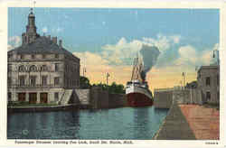 Passenger Steamer Leaving Poe Lock, Sault Ste
