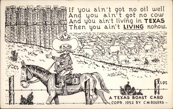 Texas Boast Card Comic, Funny