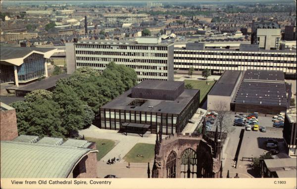 View from Old Cathedral Spire Coventry England Warwickshire