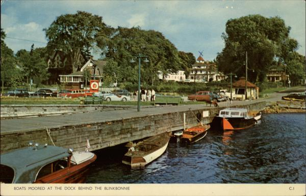Boats Moored at the Dock behind The Blinkbonnie Hotel Gananoque Canada