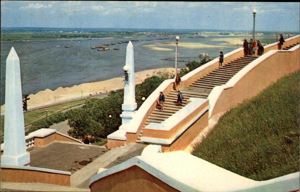 Staircase to the Volga Gorkny Russia