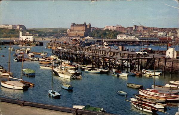 Boats in Outer Harbour Scarborough England Yorkshire