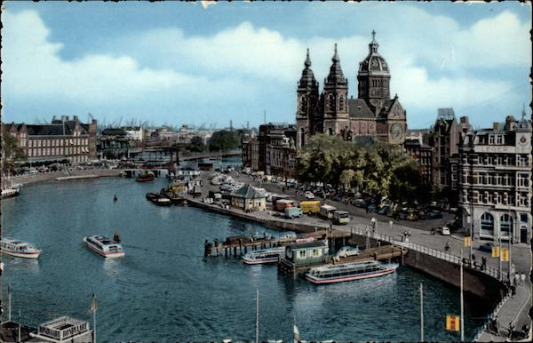 Prins Hendrikkade with St. Nicholas Church Amsterdam Netherlands