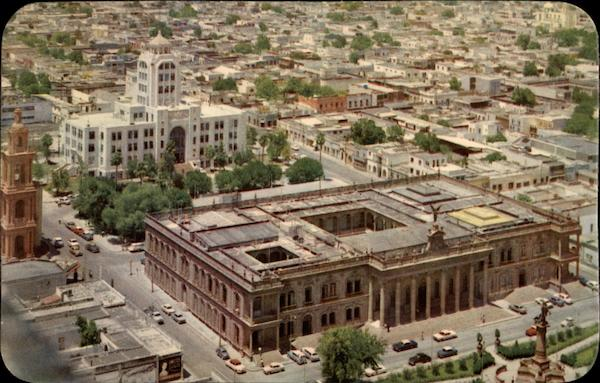 Aerial VIew of the Post Office and the Government Palace Monterrey Mexico