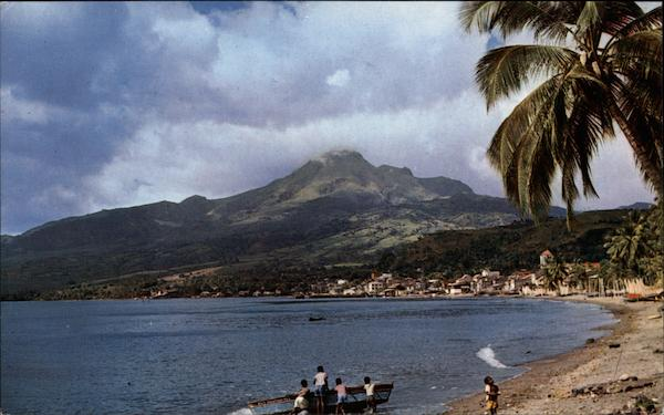 View of Town and Mont Pele in Background Saint-Pierre Martinique