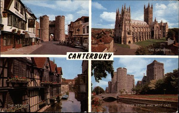 Canterbury Views, Including the West Gate and the Cathedral United Kingdom