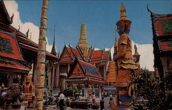 Inside the Grounds of the Wat Pra Keo ( Emerald Buddha Temple) Bangkok Thailand