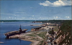 Quebec Harbour and US Marine Visitors Postcard
