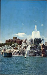 Fountain in front of Conrad Hilton Postcard
