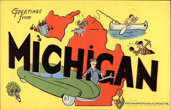 Image result for greetings from michigan postcard