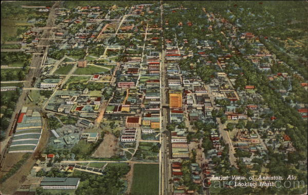 Aerial View of City, Looking North Anniston Alabama