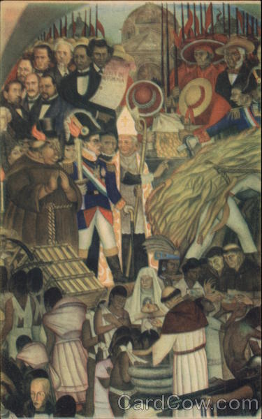 Diego Rivera's Mural The Reform, Baptism of the Indians Mexico City