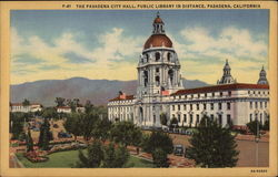 The Pasadena City Hall, Public Library in Distance