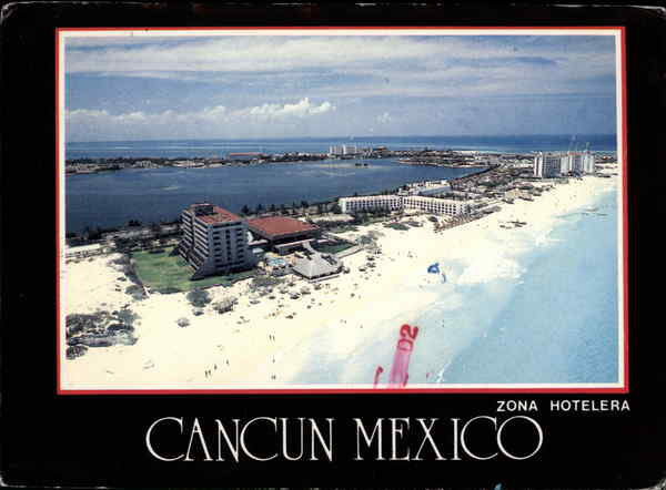 Aerial View of Zona Hotelera Cancun Mexico
