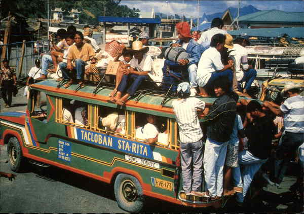Overloaded Passenger Jeepney Tacloban Philippines Southeast Asia