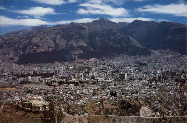 View of Quito with Volcano Pichincha Ecuador South America