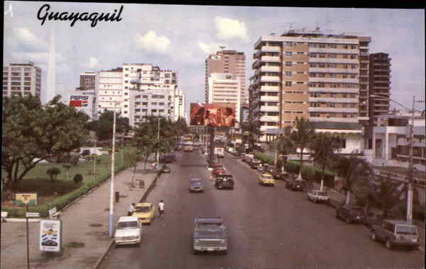 Aerial View of 9th October Avenue Guayaquil Ecuador