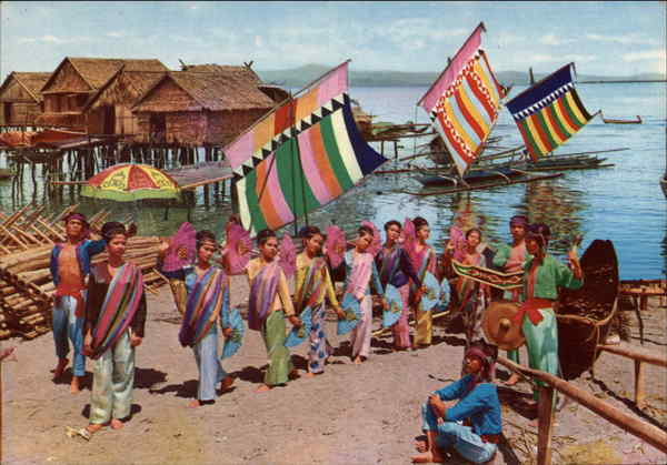 Filipino Cultural Dance Costumes http://www.cardcow.com/282220/philippines-colorful-dance-costume-setting-with-vintas-sailboats-ethnic-postcards/