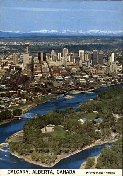 Aerial View of the City Calgary Canada Alberta