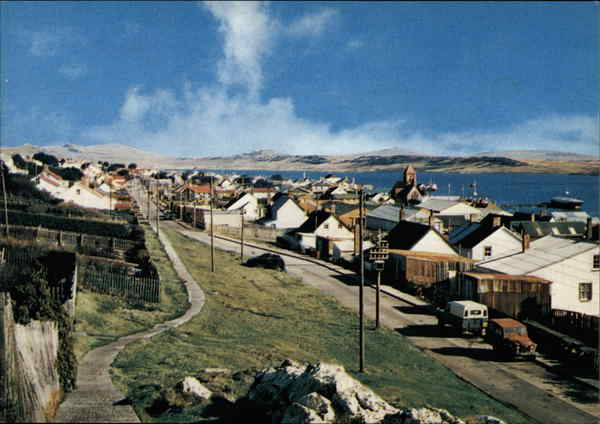 View of Town and Coast Port Stanley Falkland Islands