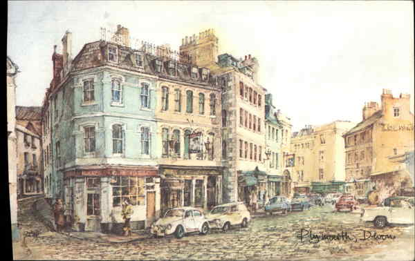 The Barbican, from an original water-colour by David Skipp Plymouth United Kingdom