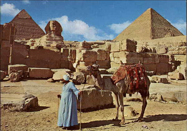 The Great Sphinx and Keops Pyramid Giza Egypt Africa