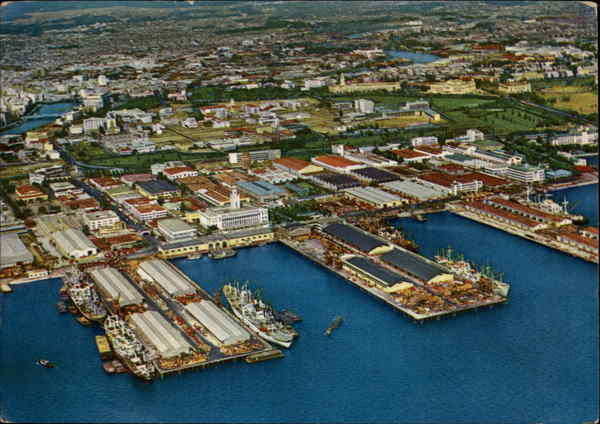 Aerial View of the Harbor Manila Philippines Southeast Asia