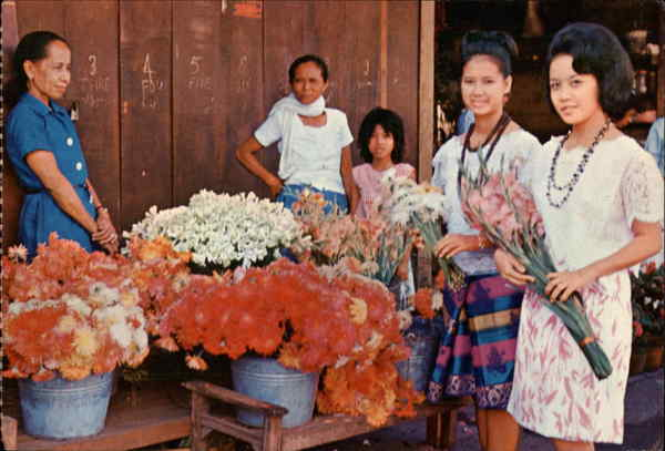 Colourful Tropical Flowers and Pretty Ladies in Native Attire Ceba City Philippines