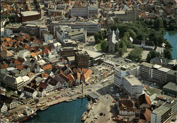 Aerial View of City Center Stavanger Norway