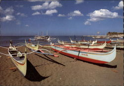 Fishing Boats on Beach Postcard