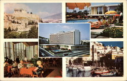 Views of City and Hilton Hotel Postcard