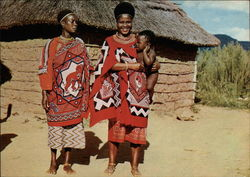 Tribal Life - Swazi Women Wearing Colourful Scarves Called Mahias