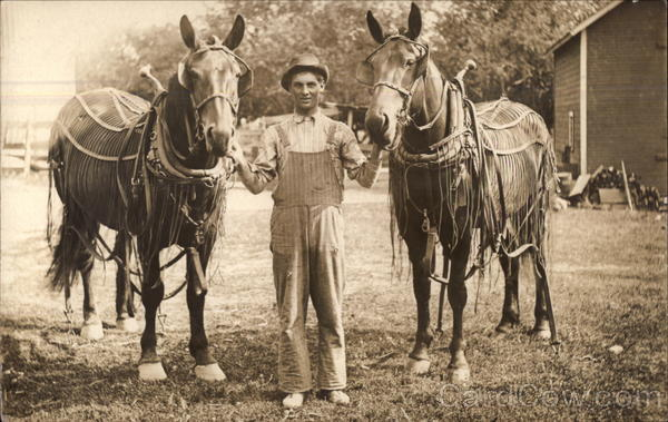 Farmer with Two Horses
