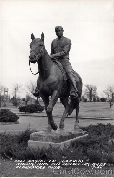 Will Rogers on Soapsuds Riding into the Sunset Claremore Oklahoma