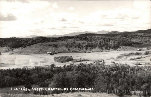Aerial View West of Craftsbury Common Vermont