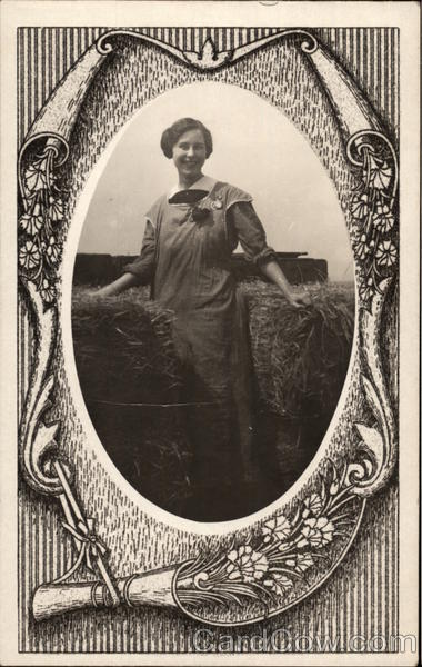 Portrait of Farm Girl with Bales of Hay Women