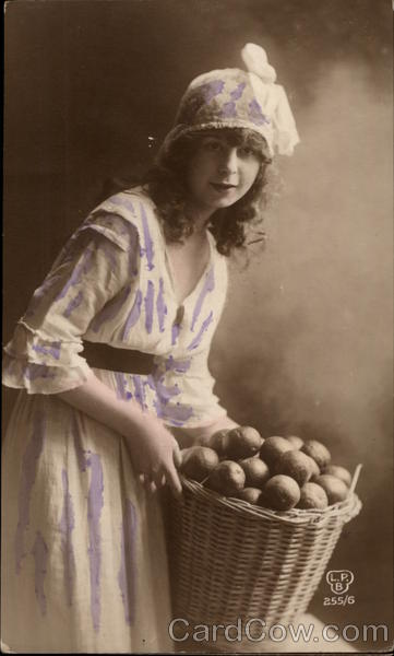 Portrait of a Girl Holding a Basket of Fruit Girls