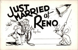 Just Married at Reno Postcard