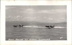 Boat Racing on Scenic Clearlake Postcard