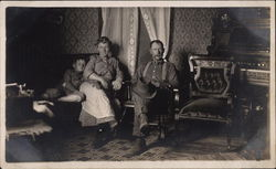 Family Relaxing in Parlor