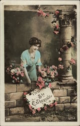Vive St. Catharine - Woman with Sign and Flowers
