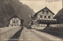 On the Road Out of Gudvangen, With Viking Hotel