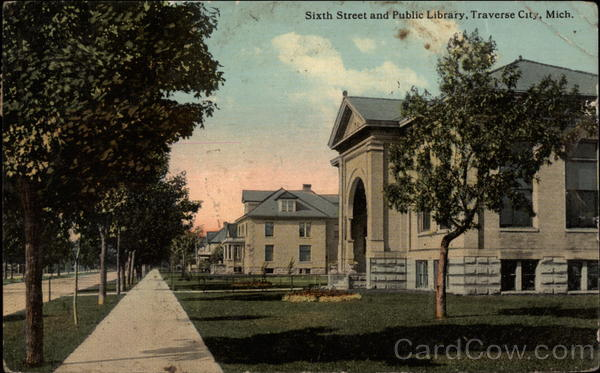Sixth Street and Public Library Traverse City Michigan